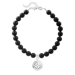 Bracelet Trèfle 4 Coeurs en Argent et Perle de Cristal Nacrée Mystic Black