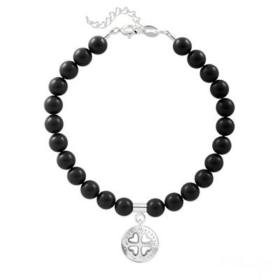 Bracelet en Cristal et Argent Bracelet Trèfle 4 Coeurs en Argent et Perle de Cristal Nacrée Mystic Black