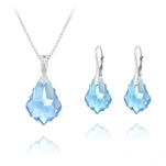 Wholesale Baroque 16mm/22mm Silver Jewelry Set with Swarovski Crystal - Aquamarine