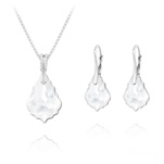 Wholesale Baroque 16mm/22mm Silver Jewelry Set with Swarovski Crystal - White