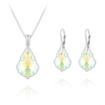 Wholesale Baroque 16mm/22mm Silver Jewelry Set with Swarovski Crystal - White AB