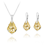 Wholesale Baroque 16mm/22mm Silver Jewelry Set with Swarovski Crystal - Golden Shadow