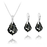 Wholesale Baroque 16mm/22mm Silver Jewelry Set with Swarovski Crystal - Silver Night