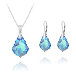 Wholesale Baroque 16mm/22mm Silver Jewelry Set with Swarovski Crystal - Aquamarine AB