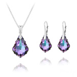 Wholesale Baroque 16mm/22mm Silver Jewelry Set with Swarovski Crystal - Vitrail Light