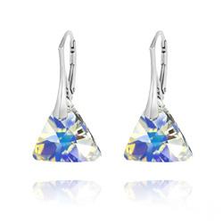 Boucles d'Oreilles Triangle 16mm en Argent et Cristal Aurore Boréale