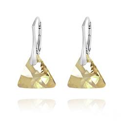 Boucles d'Oreilles Triangle 16mm en Argent et Cristal Champagne