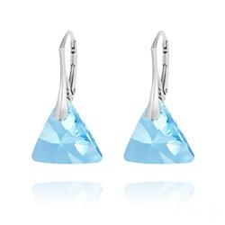 Boucles d'Oreilles Triangle 16mm en Argent et Cristal Bleu