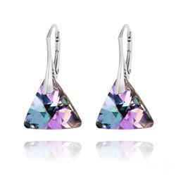 Boucles d'Oreilles Triangle 16mm en Argent et Cristal Vitrail Light