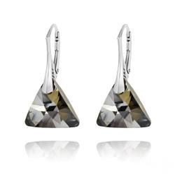 Boucles d'Oreilles Triangle 16mm en Argent et Cristal Silver Night