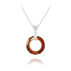 Collier Cosmic Ring 20MM V2 en Argent et Cristal Red Magma