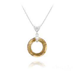 Collier en Cristal et Argent Collier Cosmic Ring 20MM V2 en Argent et Cristal Champagne