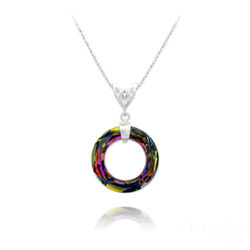 Collier Cosmic Ring 20MM V2 en Argent et Cristal Volcano