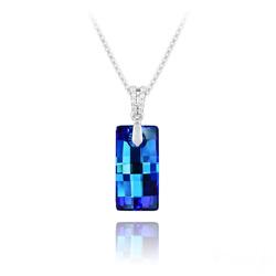 Collier Urban 20MM en Argent et Cristal Bleu Bermude