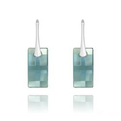 Boucles d'Oreilles en Cristal et Argent Boucles d'Oreilles Urban en Argent et Cristal Denim Blue