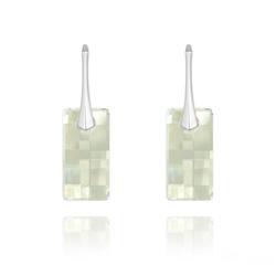 Boucles d'Oreilles en Cristal et Argent Boucles d'Oreilles Urban en Argent et Cristal Blanc