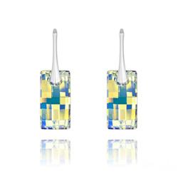 Boucles d'Oreilles Urban en Argent et Cristal Aurore Boréale