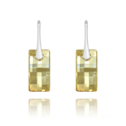 Boucles d'Oreilles en Cristal et Argent Boucles d'Oreilles Urban en Argent et Cristal Champagne