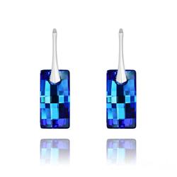 Boucles d'Oreilles Urban en Argent et Cristal Bleu Bermude