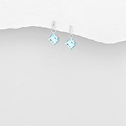 Boucles d'Oreilles en Argent Carré et Cristal Bleu