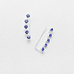 Broches d'Oreilles en Argent et Cristal Bleu Capri