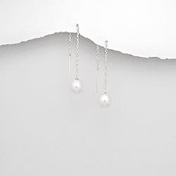 Chaînes d'Oreilles Perle Blanche et Argent