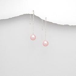 Chaînes d'Oreilles Perle Rose et Argent
