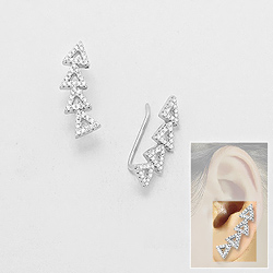 Broches d'Oreilles Triangle en Argent et Diamant CZ