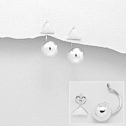 Boucles d'Oreilles en Argent Triangle et Sphère