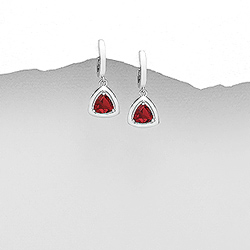 Boucles d'Oreilles Dormeuses en Argent et Diamant CZ Rouge