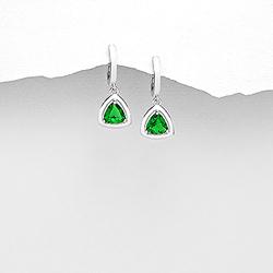 Boucles d'Oreilles Dormeuses en Argent et Diamant CZ Vert