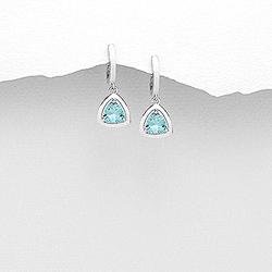 Boucles d'Oreilles Dormeuses en Argent et Diamant CZ Bleu