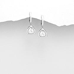 Boucles d'Oreilles Dormeuses en Argent et Diamant CZ Blanc