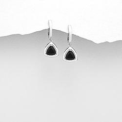 Boucles d'Oreilles Dormeuses en Argent et Diamant CZ Noir