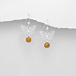 Boucles d'Oreilles Papillon Filigrané en Argent et Ambre