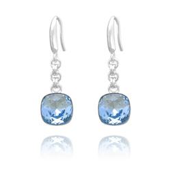 Boucles d'Oreilles Cushion Cut 10mm en Argent et Cristal Bleu