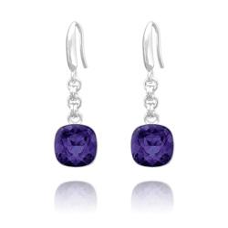Boucles d'Oreilles Cushion Cut 10mm en Argent et Cristal Purple Velvet