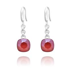 Boucles d'Oreilles Cushion Cut 10mm en Argent et Cristal Royal Red