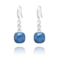 Boucles d'Oreilles Cushion Cut 10mm en Argent et Cristal Royal Blue