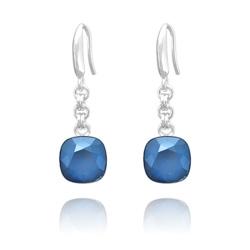 Boucles d'Oreilles Cushion Cut 10mm en Argent et Cristal Royal Blue