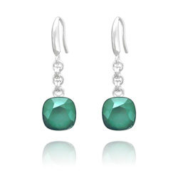 Boucles d'Oreilles Cushion Cut 10mm en Argent et Cristal Royal Green