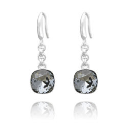 Boucles d'Oreilles Cushion Cut 10mm en Argent et Cristal Black Diamond