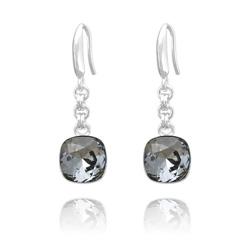 Boucles d'Oreilles Cushion Cut 10mm en Argent et Cristal Black Diamond