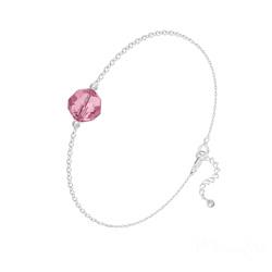 Bracelet en Cristal et Argent Bracelet Perle 8mm en Argent et Cristal Light Rose