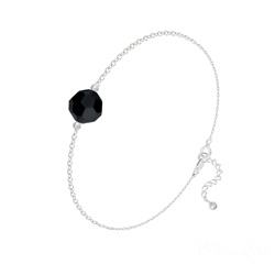 Bracelet en Cristal et Argent Bracelet Perle 8mm en Argent et Cristal Jet (Noir)