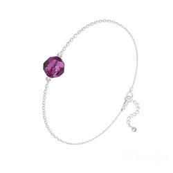 Bracelet en Cristal et Argent Bracelet Perle 8mm en Argent et Cristal Fuchsia