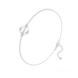 Bracelet en Cristal et Argent Bracelet Perle 8mm en Argent et Cristal Blanc