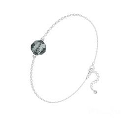 Bracelet en Cristal et Argent Bracelet Perle 8mm en Argent et Cristal Black Diamond