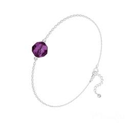 Bracelet en Cristal et Argent Bracelet Perle 8mm en Argent et Cristal Améthyste