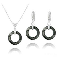 Parure Cosmic Ring 20MM en Argent et Cristal Silver Night (Dorado)